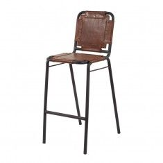 Lazy Susan Industrial Leather & Metal Bar Stool