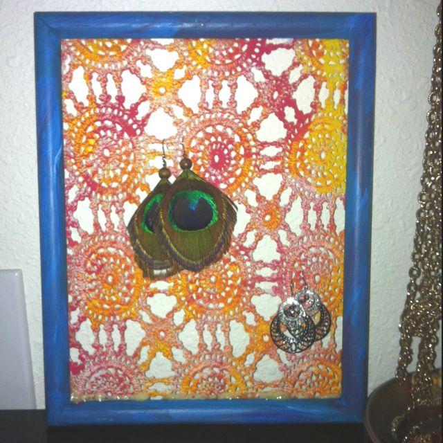 Earring holder. Doilie, frame, paint, glue. | Color ...