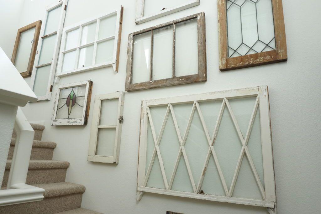 How To Hang Vintage Windows Wall Paneling Makeover Window Wall Decor Paneling Makeover