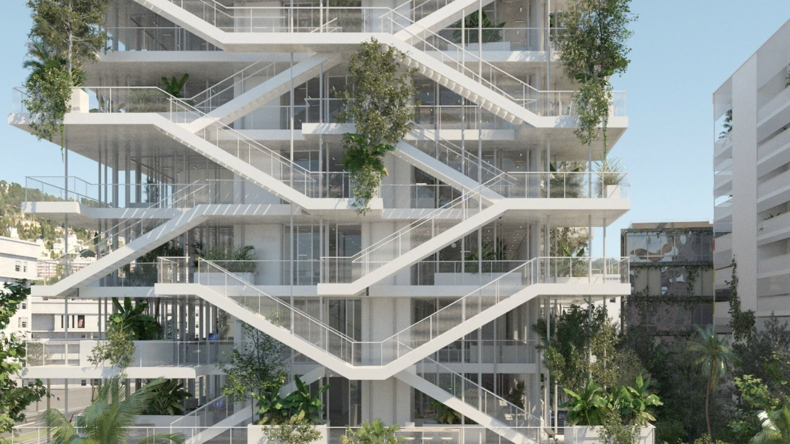 french architectural firm nicolas laisn associs designed the open concept bio climatic office building to have a beautiful green layered outer facade