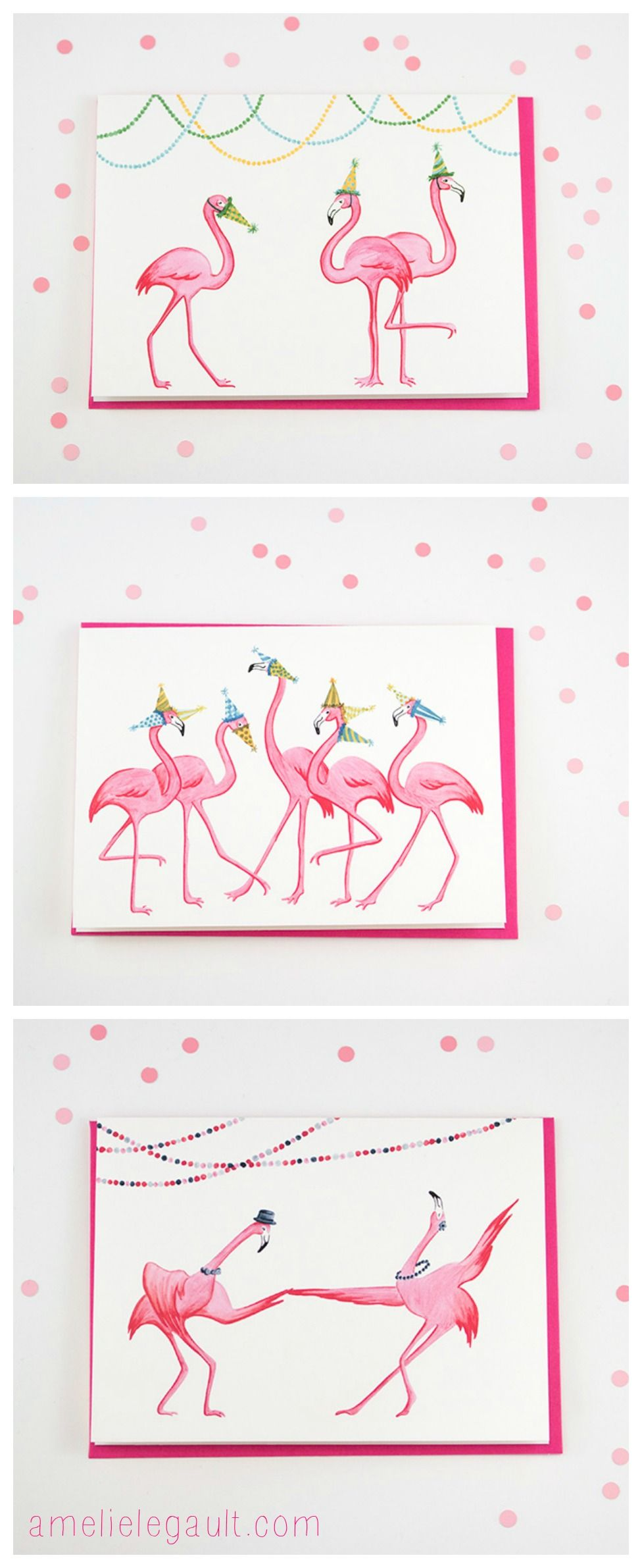 Pink Flamingo birthday cards by Amelie Legault on Etsy…