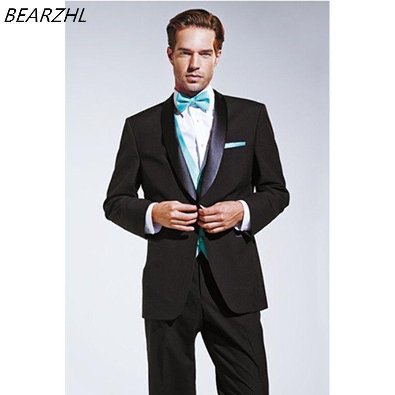 mens suits wedding black custom made formal tuxedo for men suit slim ...