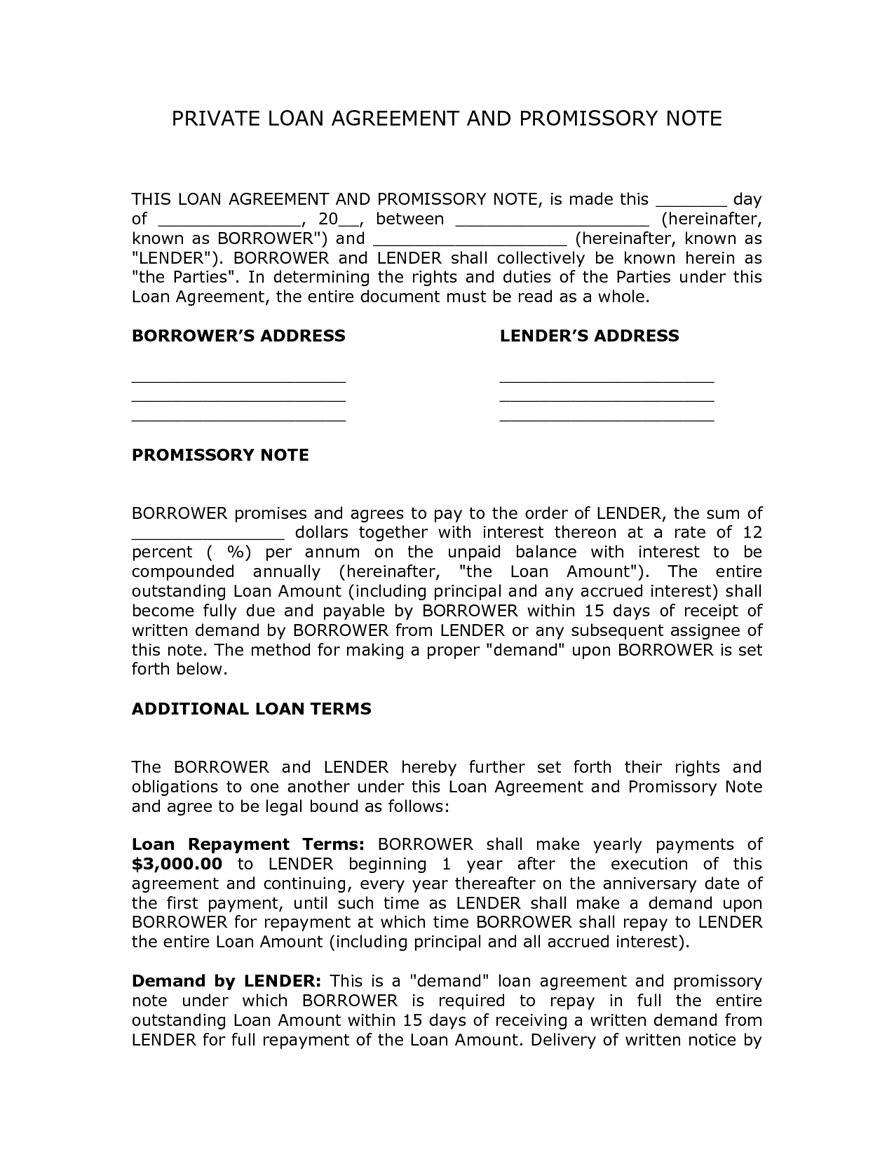 Corporate Loan Contract Sample   Private Loan Agreement Template Free  Personal Loan Document Template