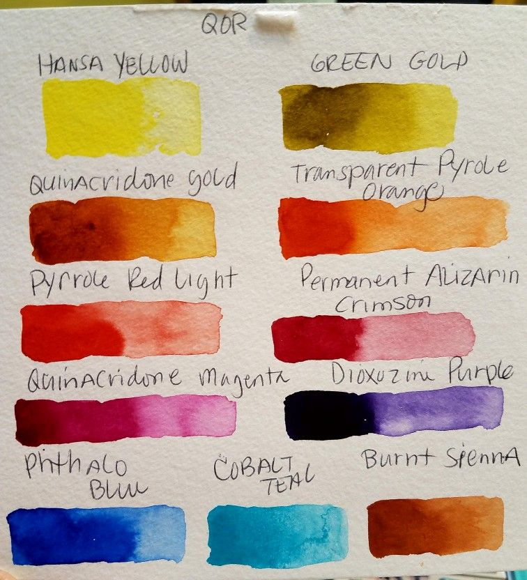 Qor Watercolor Chart 2 Sets Of Six High Chroma And Earth Colors