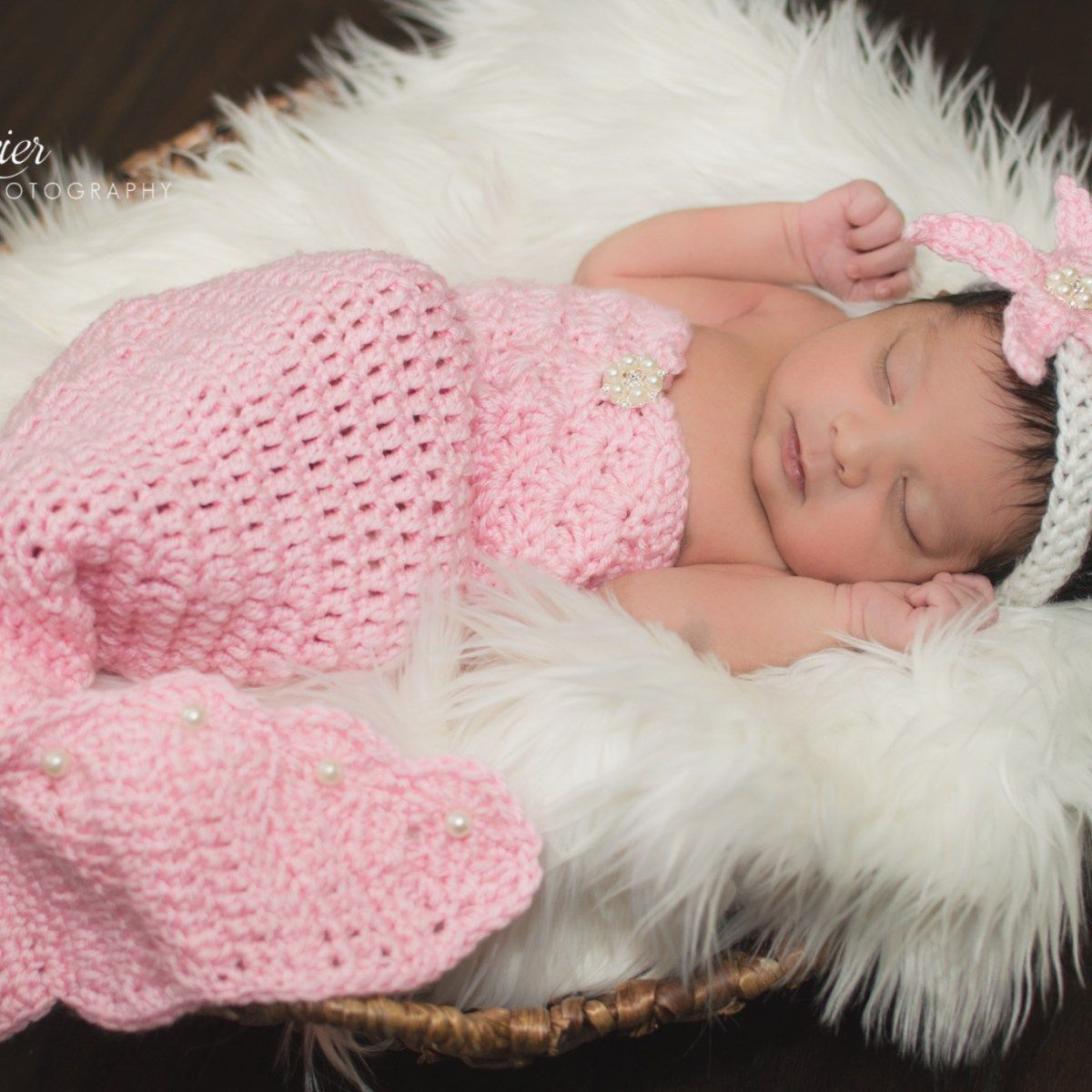 6 BEADED 0-6 mo BABY Crocheted MERMAID SWEETHEART 3 pc set PHOTO PROP newborn