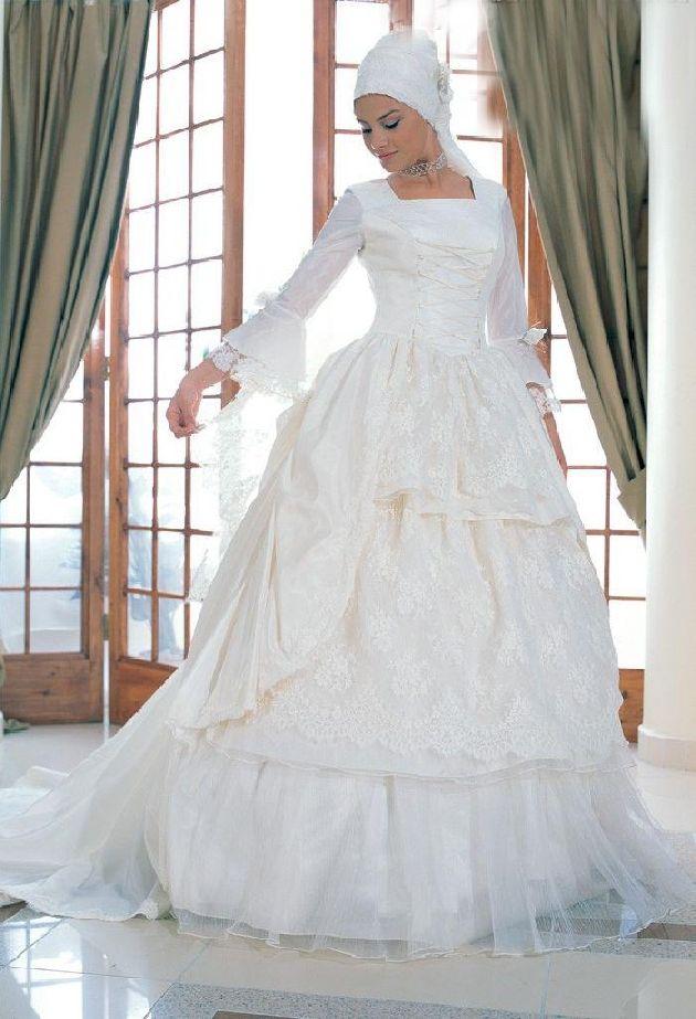 White and elegant muslim wedding dress. #muslim #wedding #islam