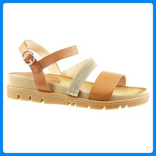 Angkorly Damen Schuhe Sandalen Mule - Schmuck - Multi-Zaum - String Tanga Keilabsatz 4 cm - Camel YS434 T 40 0tFDDnJixU