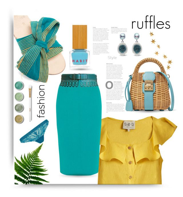 """ruffles"" by queenofsienna ❤ liked on Polyvore featuring Brother Vellies, Sea, New York, Roland Mouret, Alaïa, Topshop, Terre Mère, Habit Cosmetics, Mark Cross, Livingly and ruffles"