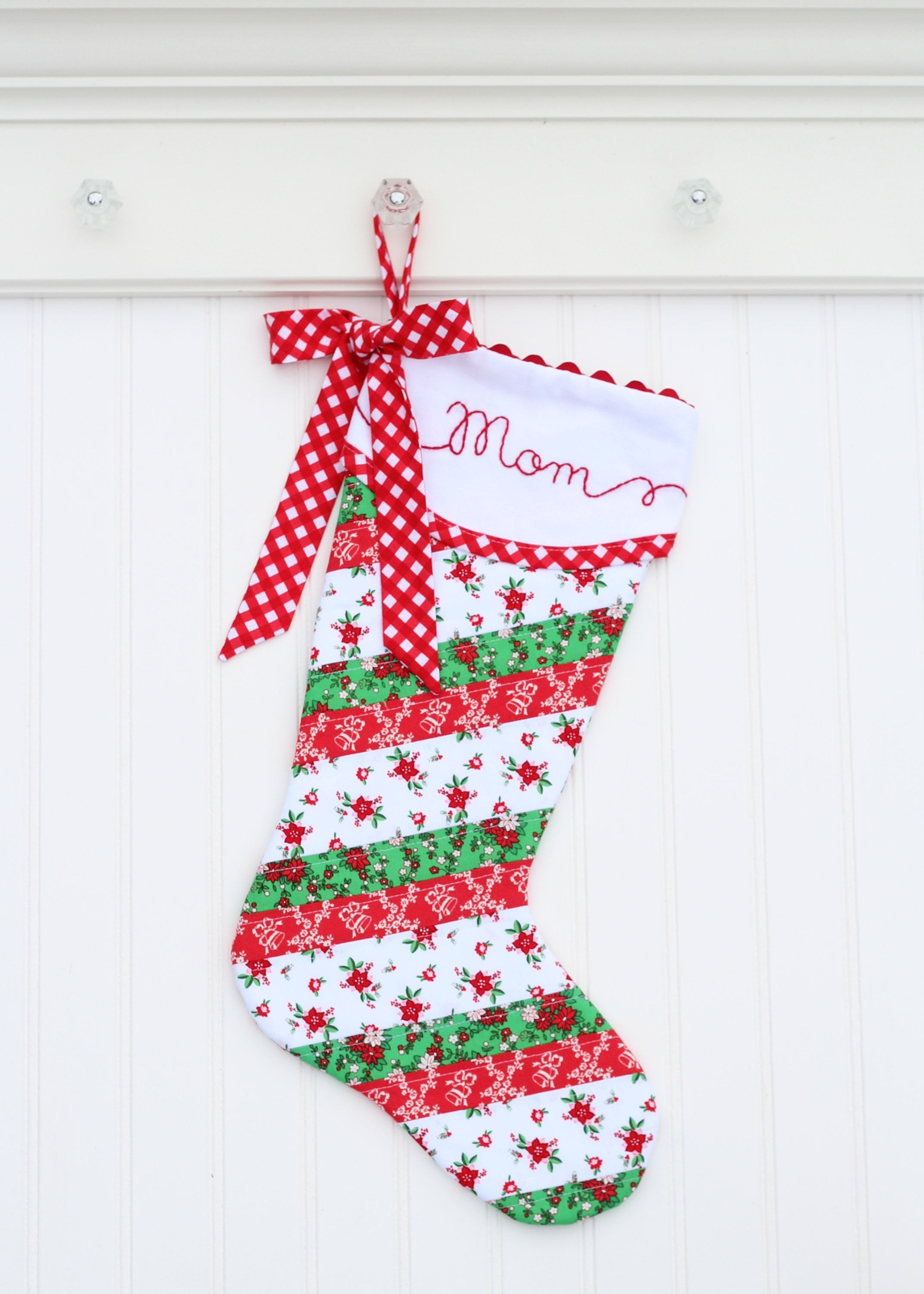 personalized christmas stocking quilted christmas stocking girl christmas stocking monogrammed christmas stocking hand embroidered custom by - Girl Christmas Stocking