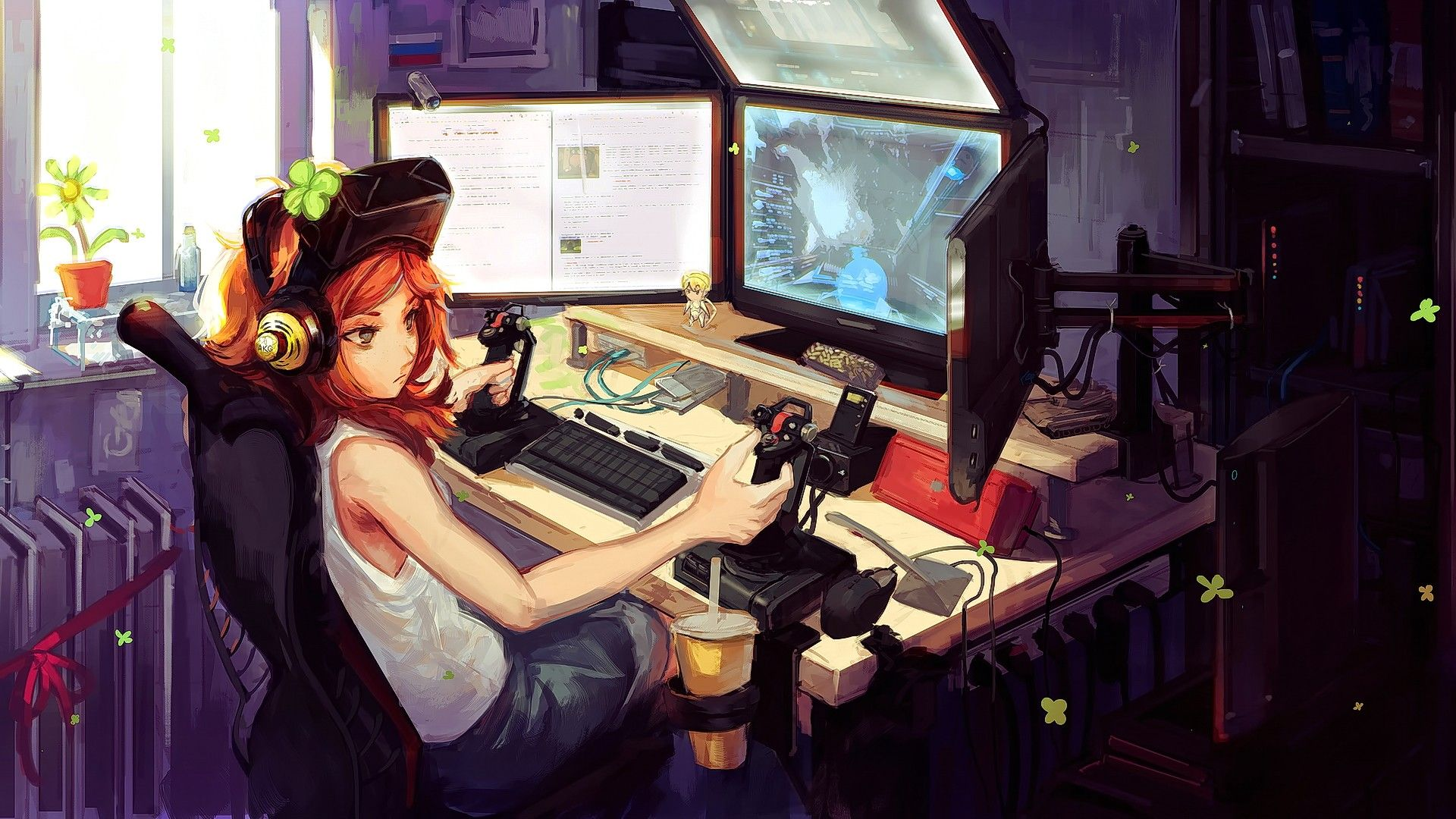 Anime 1920x1080 Digital Art Computer Headsets Vivian James Interfaces Anime Anime Girls Original Characters Room Redhead Video Star Citizen Gamers Anime Anime
