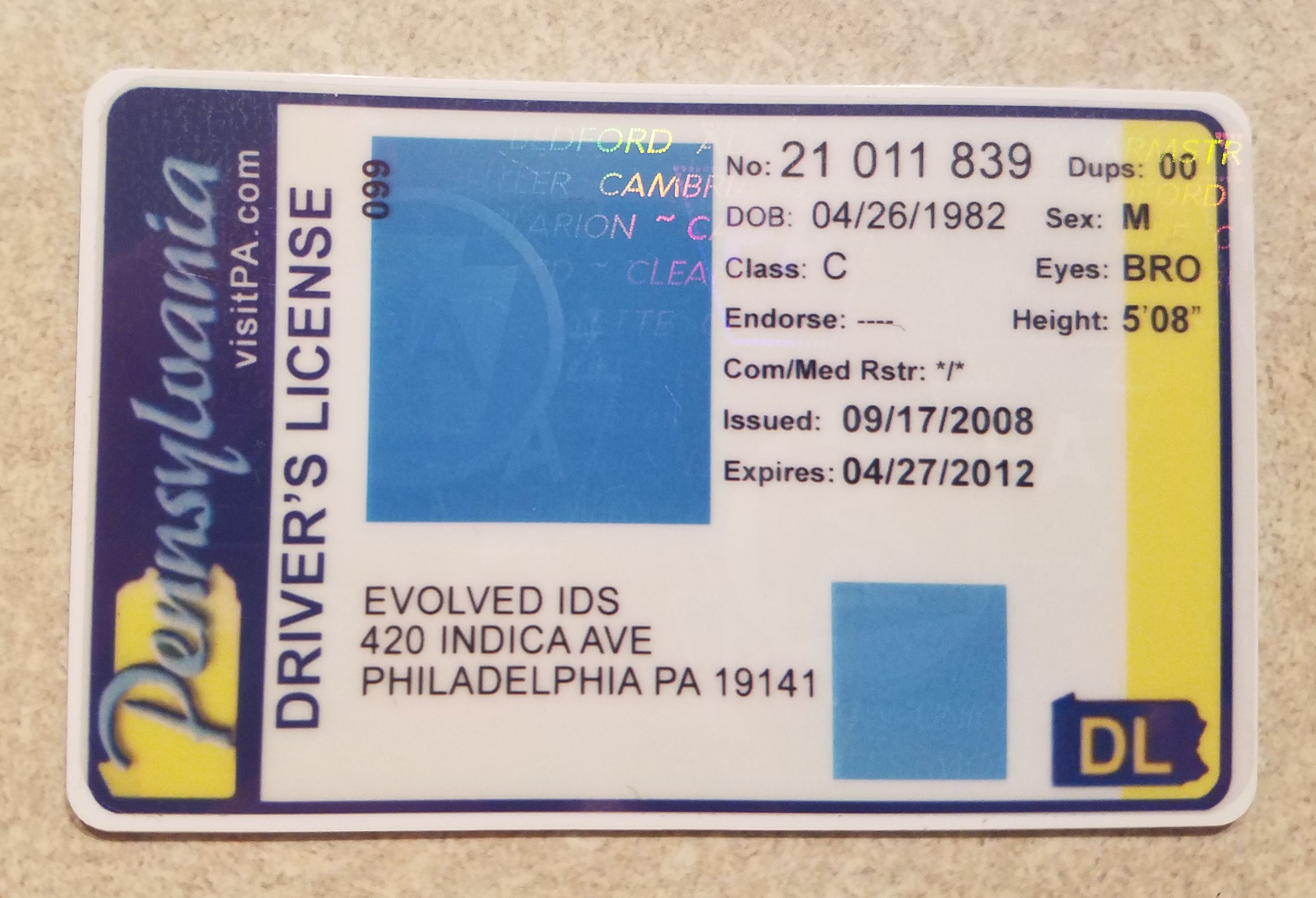 Evolved ids products pa drivers license drivers