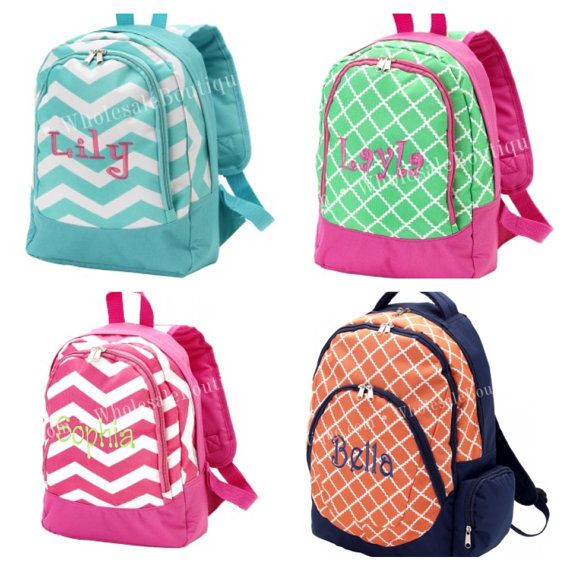 Monogram personalized back pack book bag school boy or girl ...