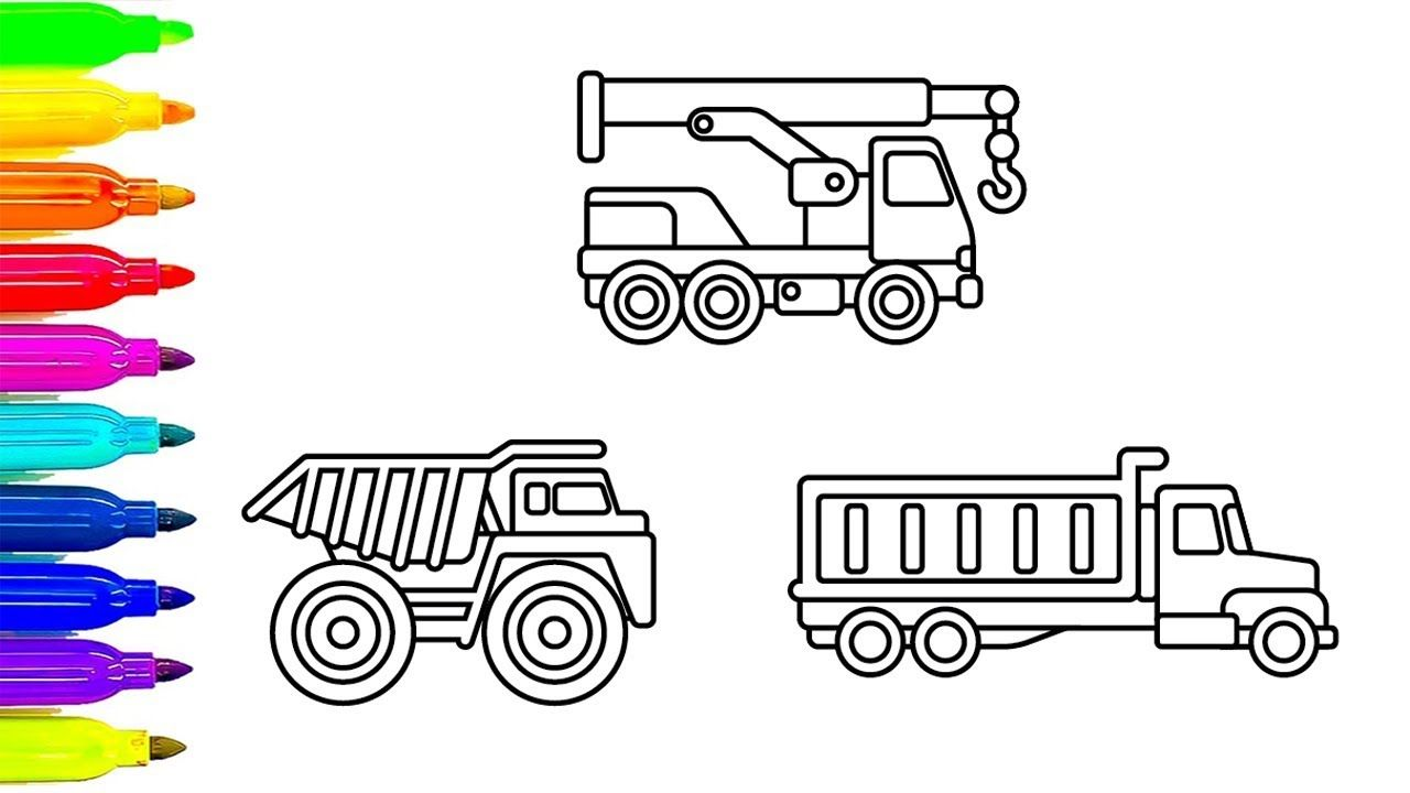 Learn colors for Children with Construction Truck coloring pages ...