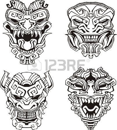 Aztec monster totem masks   art   Tattoos, Tattoo drawings y Tattoo ...