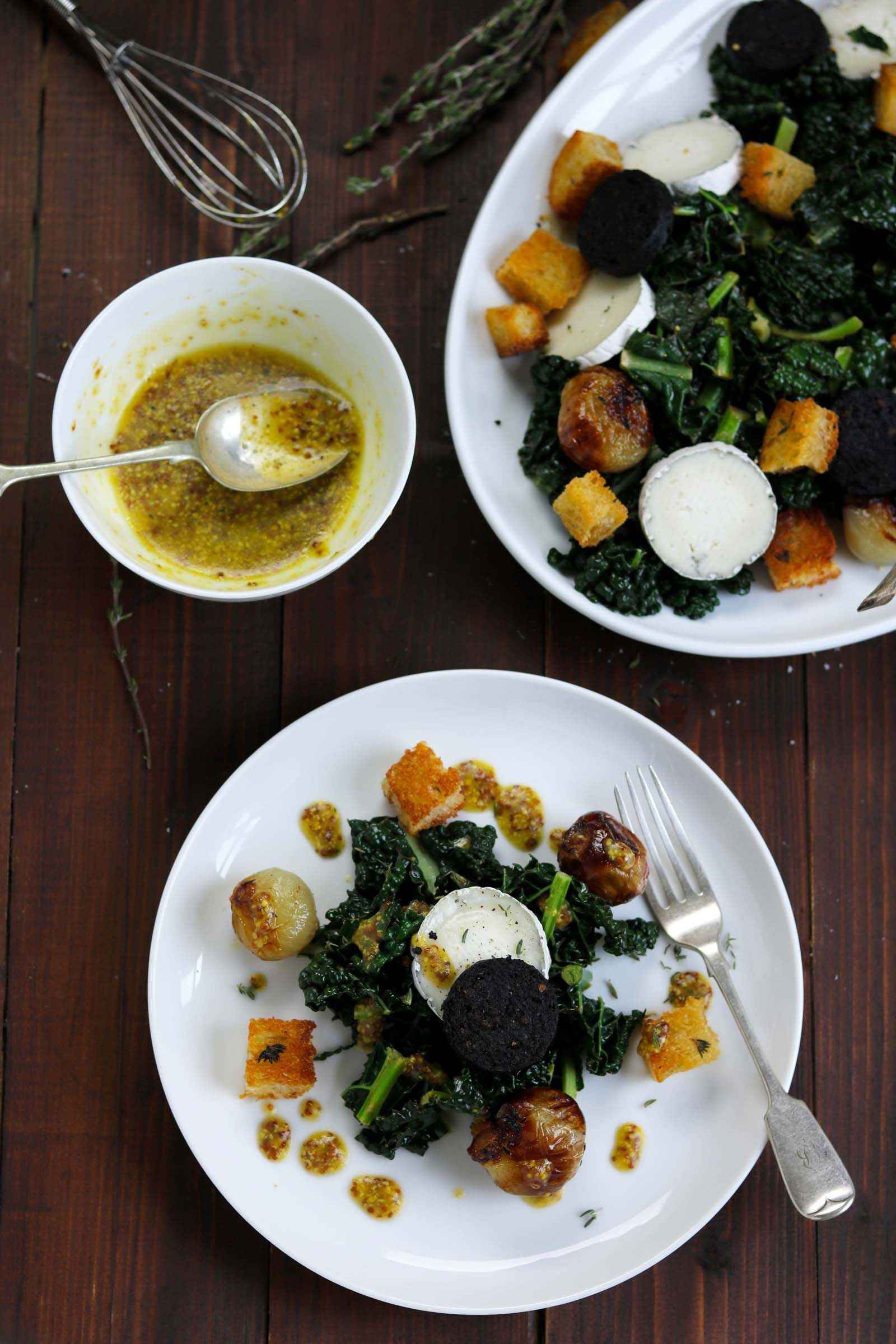 Black Kale, Goat's Cheese & Black Pudding Food recipes