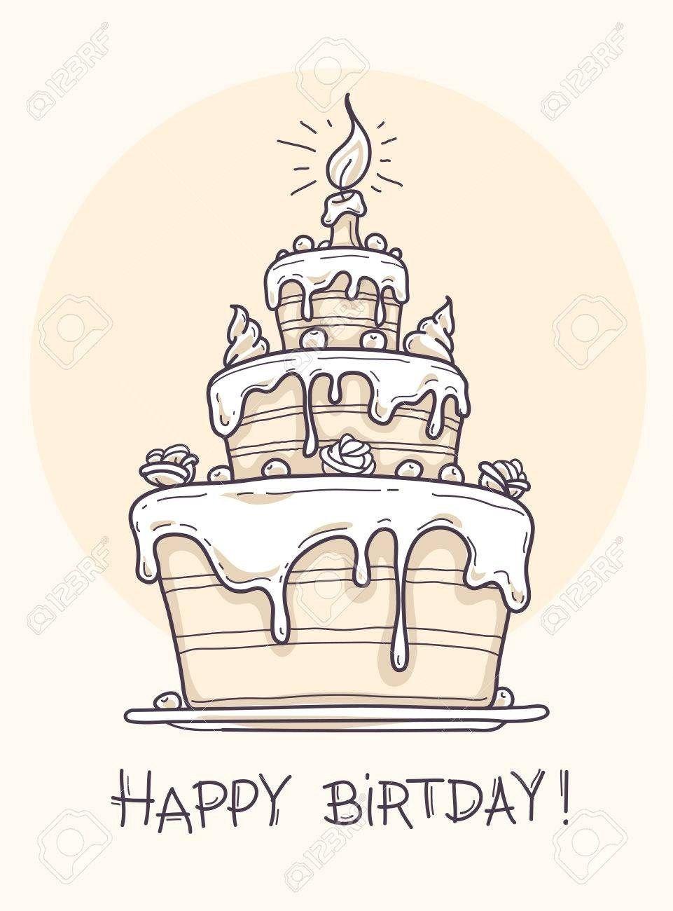 Awesome Birthday Cake Drawing Greeting Card With Big Birthday Cake Contour Funny Birthday Cards Online Benoljebrpdamsfinfo
