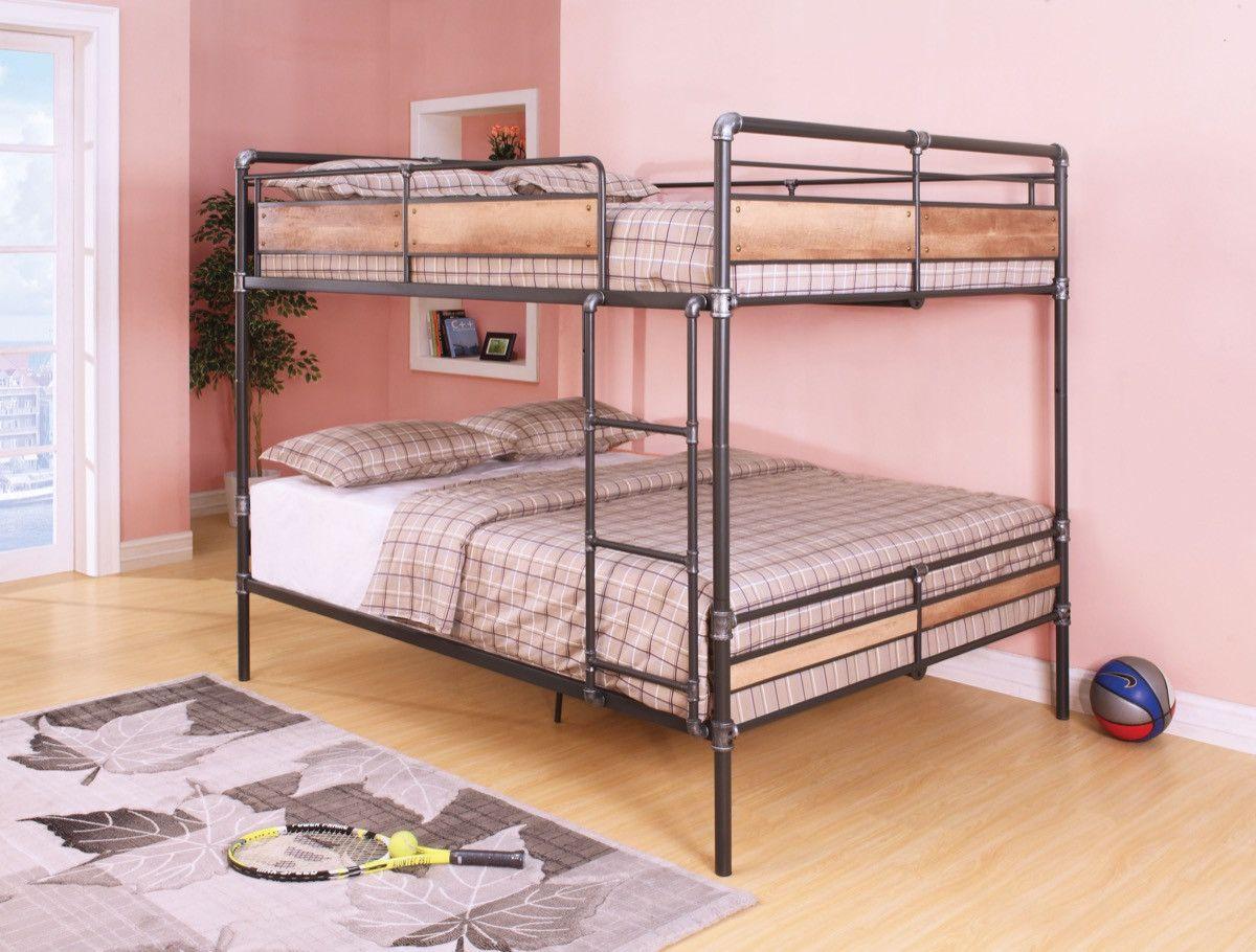 Queen Beds Metal Wood And Metal Bunk Bed Queen Over Queen: Pipe Like Queen Metal Bunk Bed