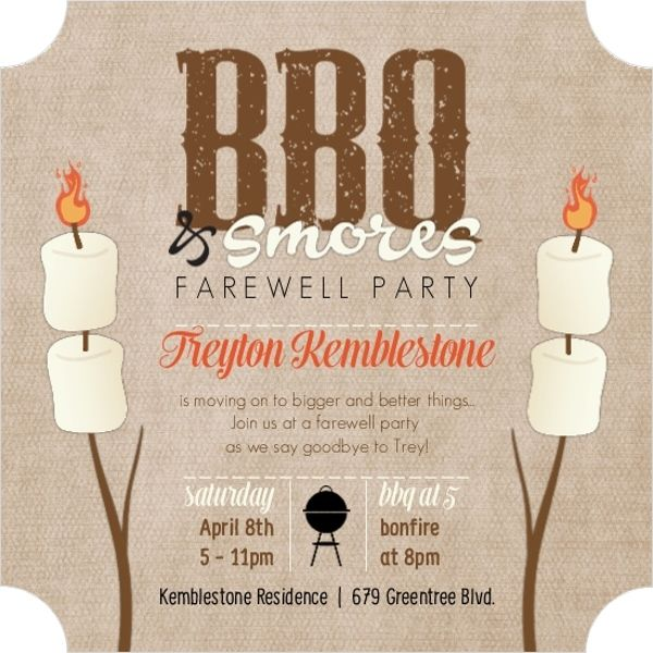 Bbq \ Smores Farewell Party Invitation by PurpleTrail - farewell party invitation template