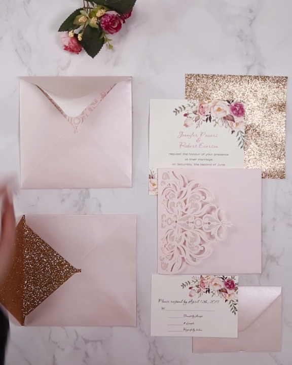 Blush Pink And Gold Laser Cut Pocket Wedding Invitation Kits Ewws201