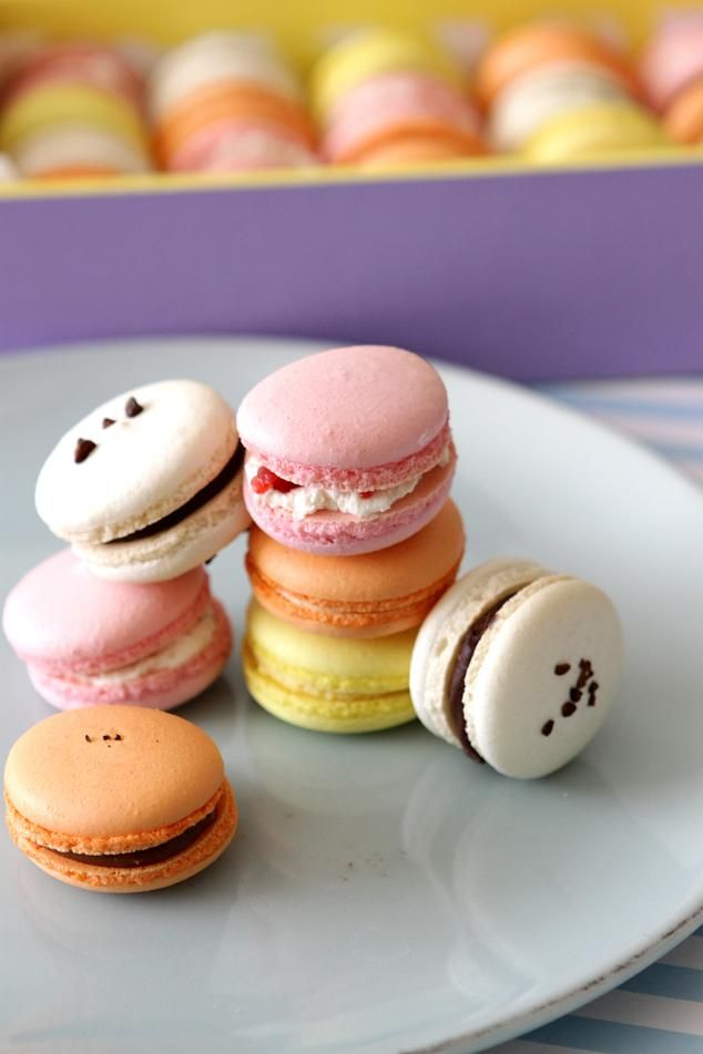 basic macaron recipe (also: milk chocolate passionfruit ganache, rose italian meringue buttercream, gianduja ganache with hazelnut praline, salted caramel buttercream)