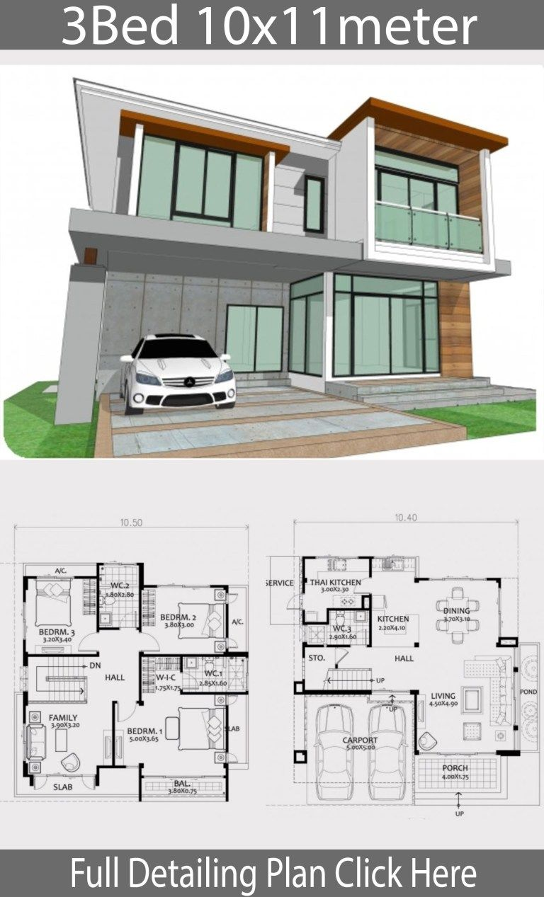 Home Design Plan 10x11m With 3 Bedrooms Home Ideas Loft House Design House Design Bungalow House Design
