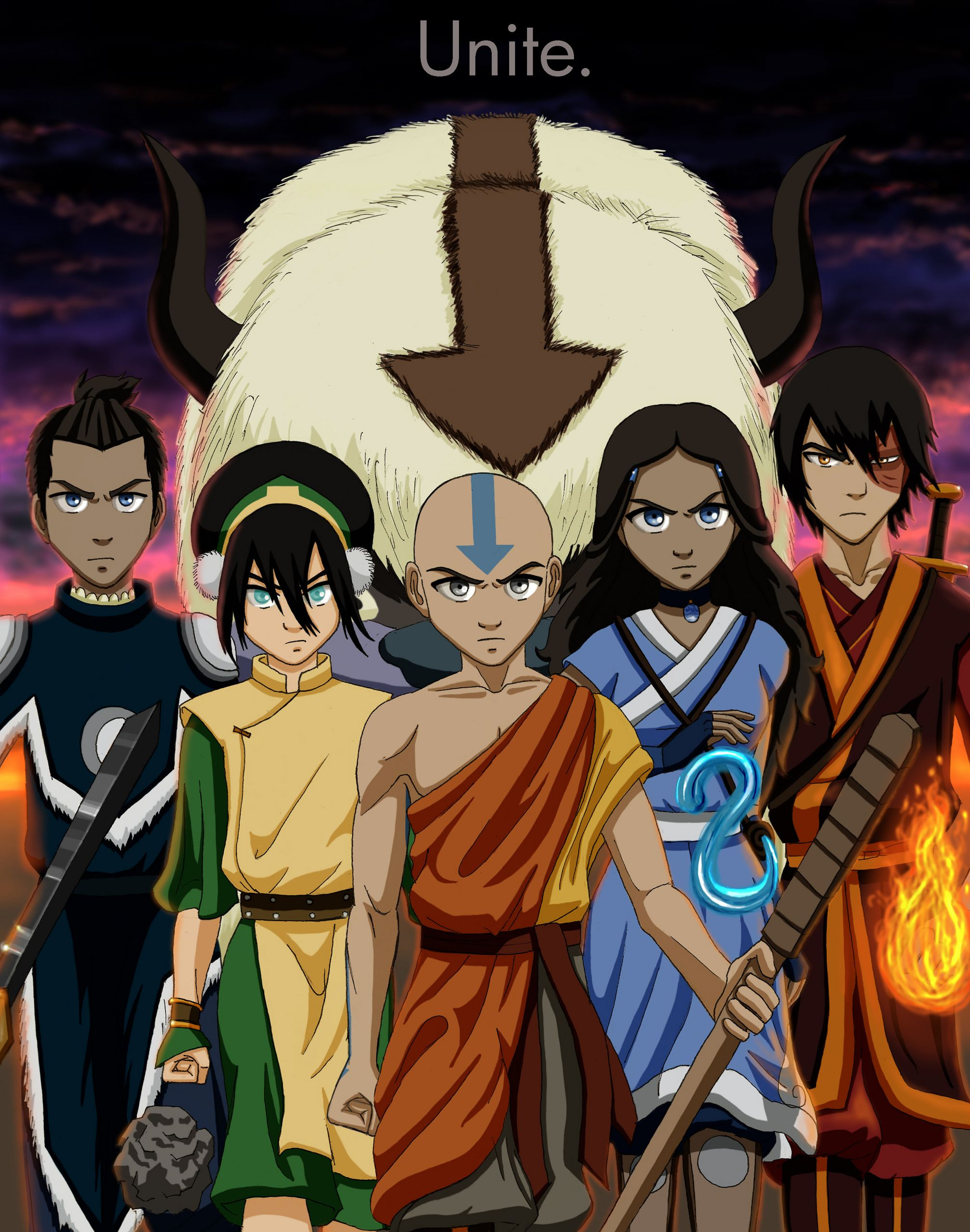 The Gaang (Sokka, Toph, Aang, Katara, Zuko) Avatar The