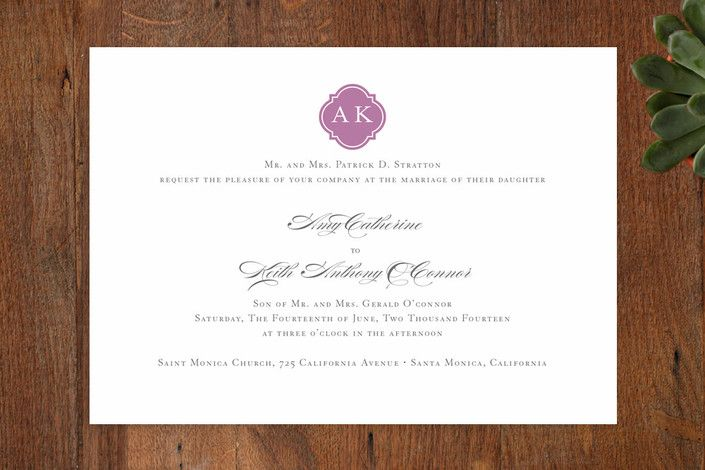 Sloane Wedding Invitations by Dauphine Press at minted.com
