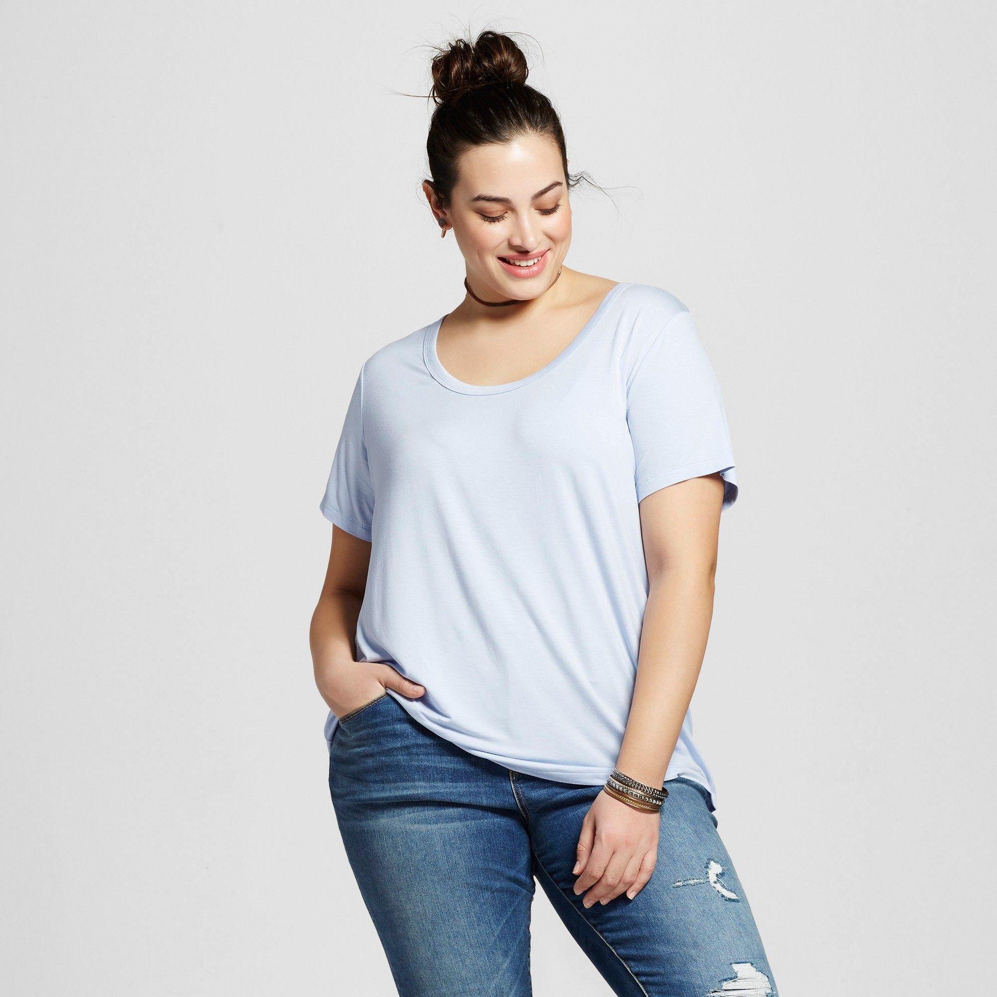 f5b20c7c900 Women s Plus Size Perfect T-Shirt - Ava   Viv Bauble Blue 3X ...