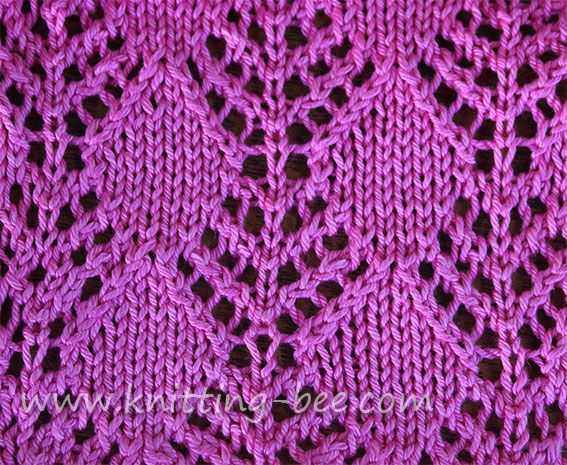 Diamond Trees Lace Knitting Stitch Pattern | Lace Stitch Patterns ...