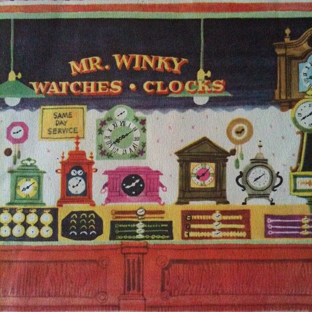 """A page from the book, """"The Noisy Clock Shop."""" Illustrated by Art Seiden. Published by Wonder Books in 1950."""