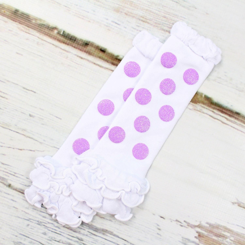 Purple Polka Dot Leg Warmers | Sparkly Purple Dot Leg Warmers on White Leg Warmers with Ruffles