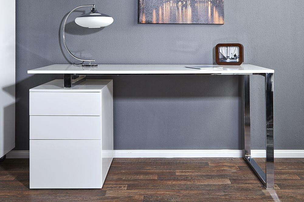 Bureau Design Blanc Laque Avec Rangement Compact Design Schreibtisch Burotisch Schreibtisch