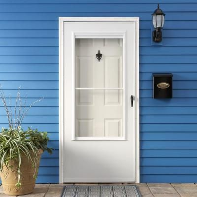 Emco 36 in x 80 in 200 series white self storing storm for Double storm doors home depot