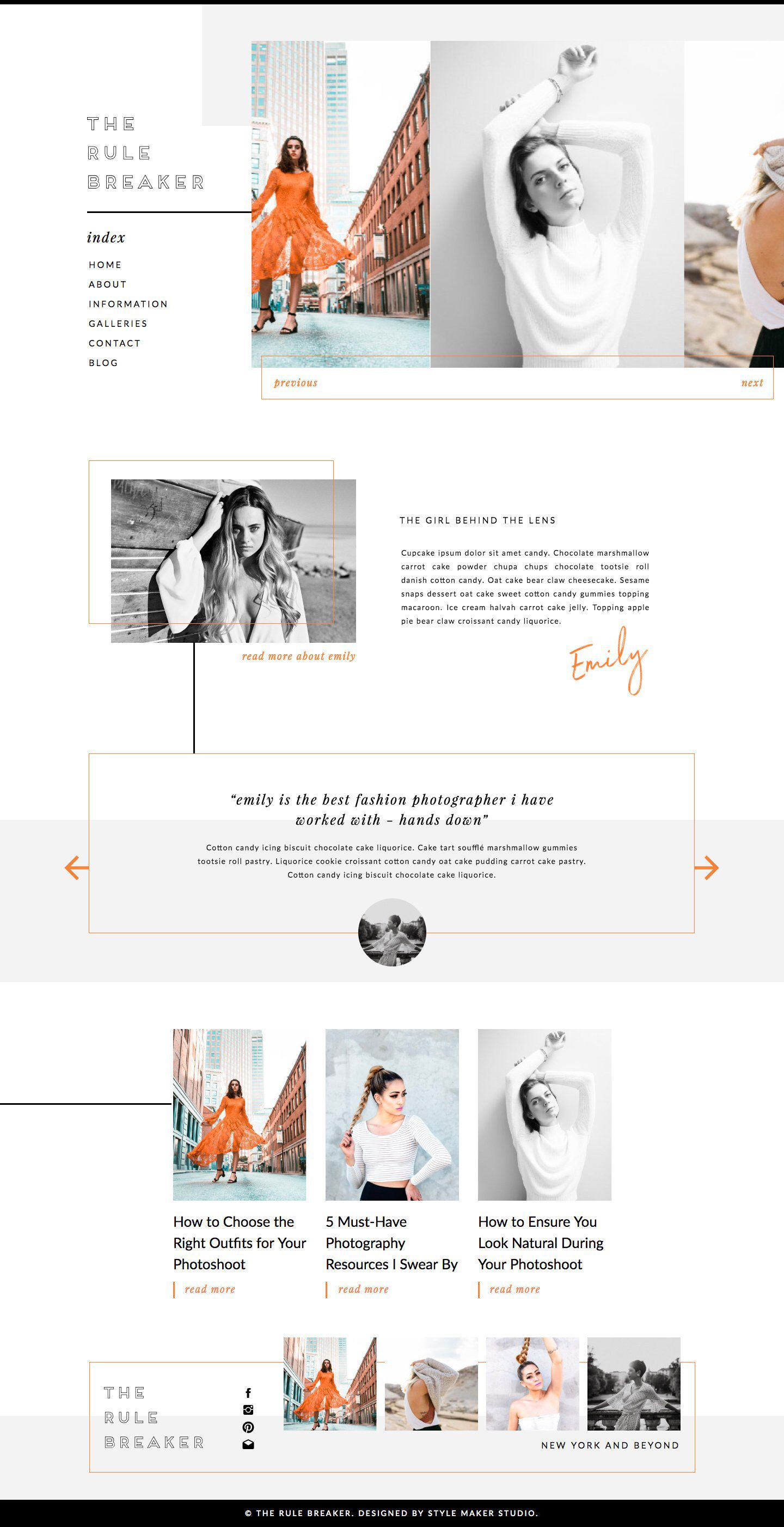 Modern Website Template for Showit Platform is part of Portfolio website design, Web layout design, Website design layout, Portfolio design, Web design, Photographer templates - therulebreaker stylemakerstudio com This modern website template has been created using the Showit platform  With an editorial vibe, it has been specifically designed for fashion photographers, bloggers and creatives  Update colours, fonts, images and more to suit your brand  Optimised for both desktop and mobile, this showit website template is completely mobile responsive and will look great across all devices  Each purchase comes with complimentary access to the online course, 'Getting Started with Showit' so you can feel confident using a brand new website platform   'The Rule Breaker' Includes  • Home page design • About page • Services page • Portfolio page • Contact page • Premade Blog Design • Single Post Blog Template
