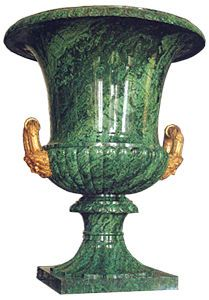One of the chief ornaments of the New Hermitage were huge Empire-style vases made of Russian semi-precious stones mounted in gilt-bronze.
