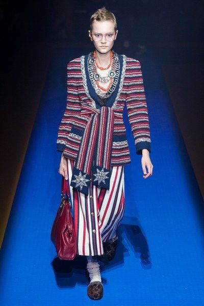 e67d462ef3c See the complete #Gucci #spring2018 #womenswear collection. #fashion  #designer #patriotic #stripes #red #white #blue #ss18