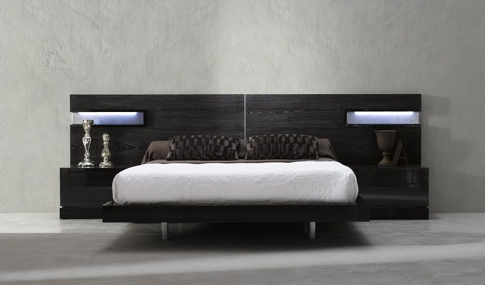Nice Platform Bed In Walnut Finish With Attached End Tables To