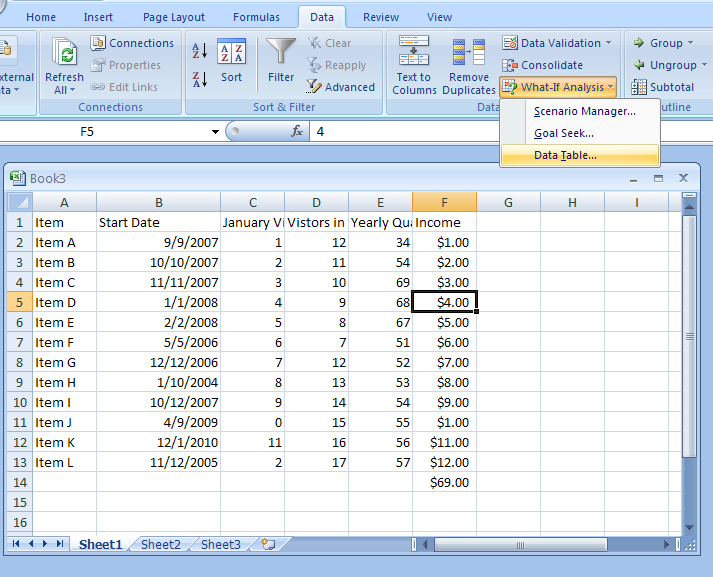 Excel Datatable  WhatIf Analysis For More Excel Tutorials Visit