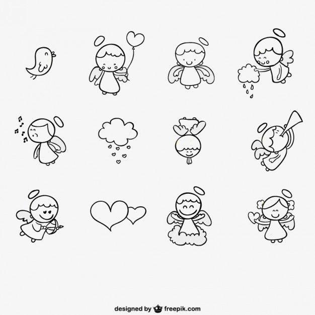 Angels Cute Hand Drawn Set Disegni A Mano Arte Doodle Disegno Di Un Angelo
