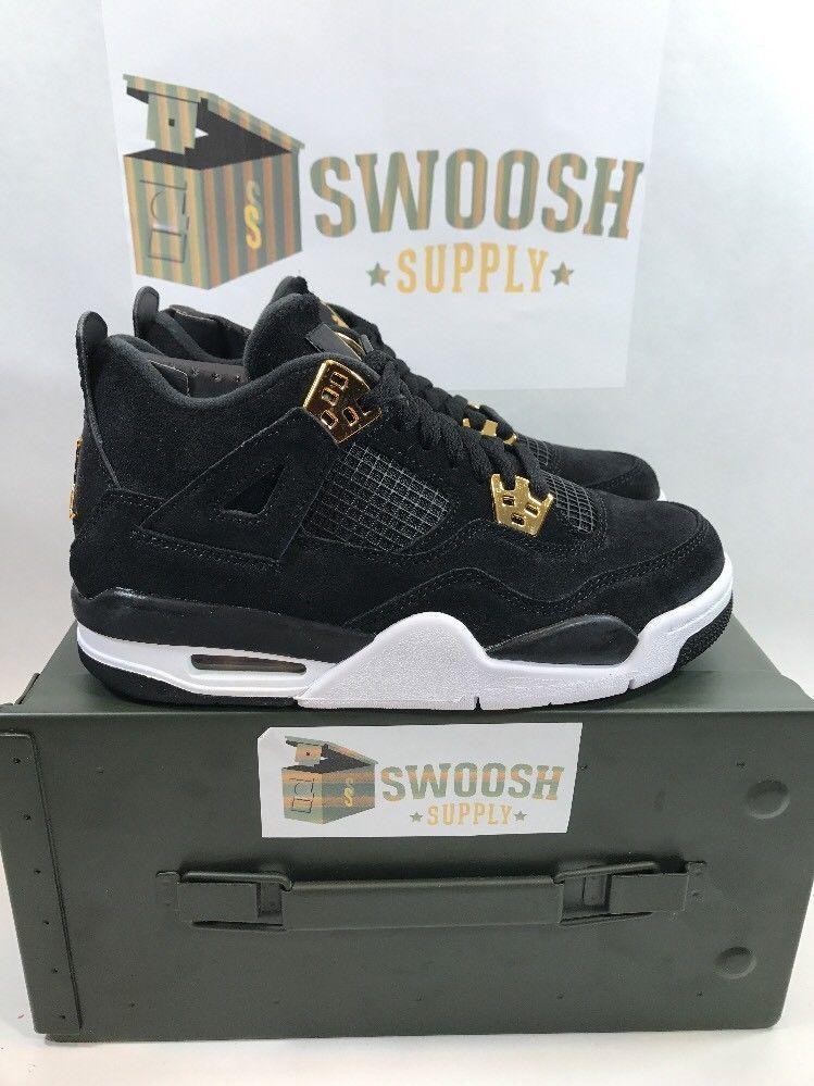 official photos 67c6f 960db Nike Air Jordan Retro 4 Royalty Black Metallic Gold GS BG 408452-032 Youth  Sizes  Nike  BasketballShoes