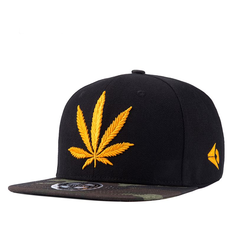 69e9f026124 Fashion Golden Weed With Yellow Baseball Snapback Hats Caps For Men Women Hip  Hop Hat Camouflage Cap Visor Sports Caps