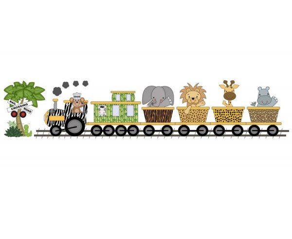 Jungle Zoo Animal Train Wall Art Mural Or Wallpaper Border