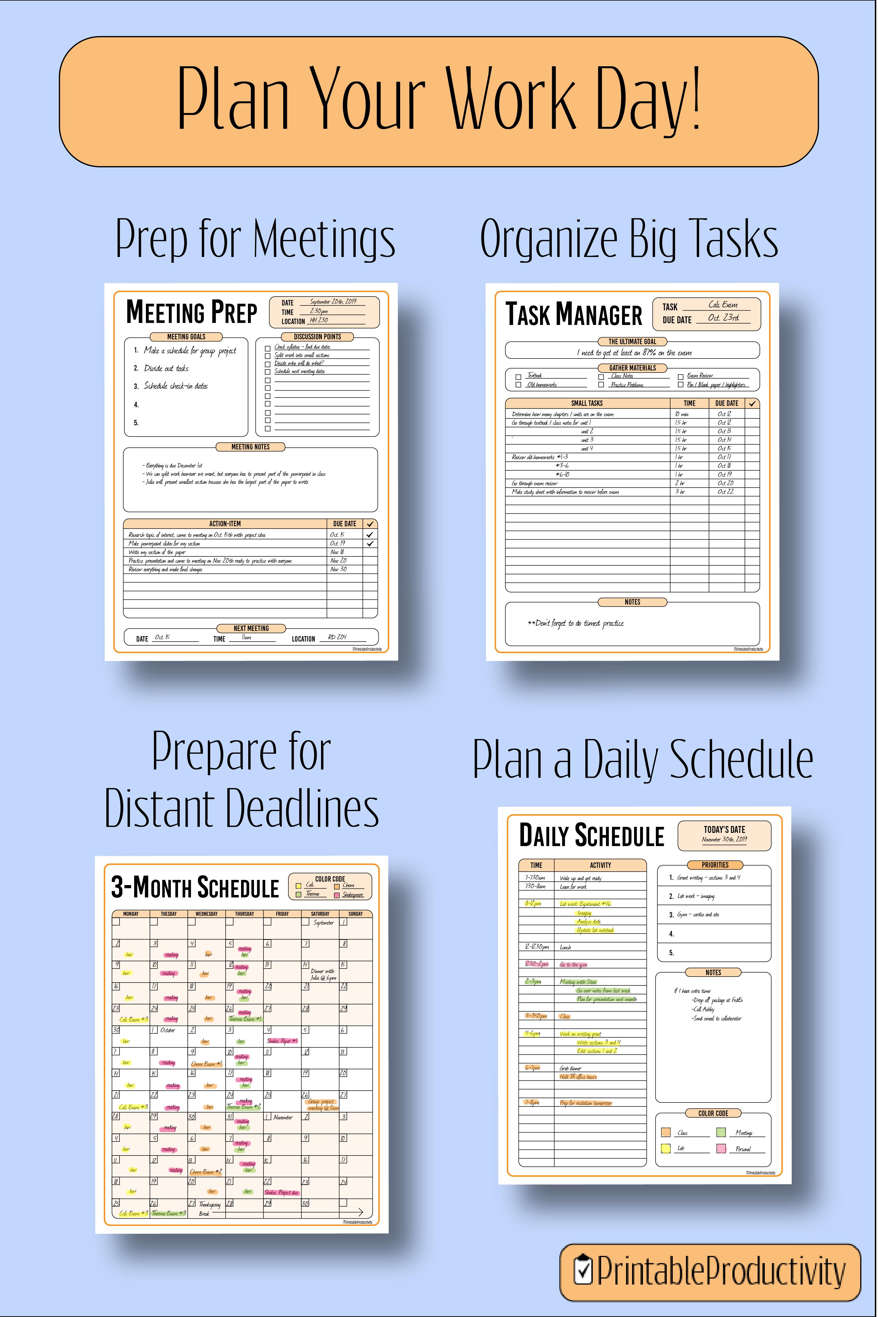 Printable Work Planners Daily Schedule Monthly Calendar Meeting Organizer Work Planner Blog Planner Printable Printable Planner