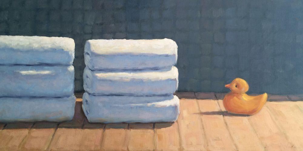 Plein Air Still Life Beach Towel White