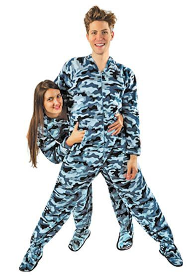 Blue Camouflage Fleece Footed Pajamas with Drop Seat