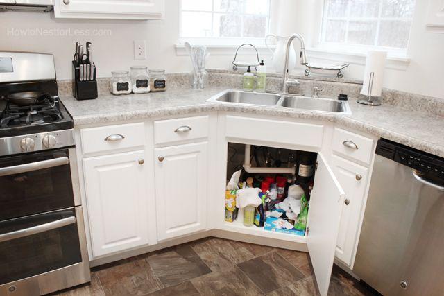How to Organize Under Your Kitchen Sink | Corner sink ...