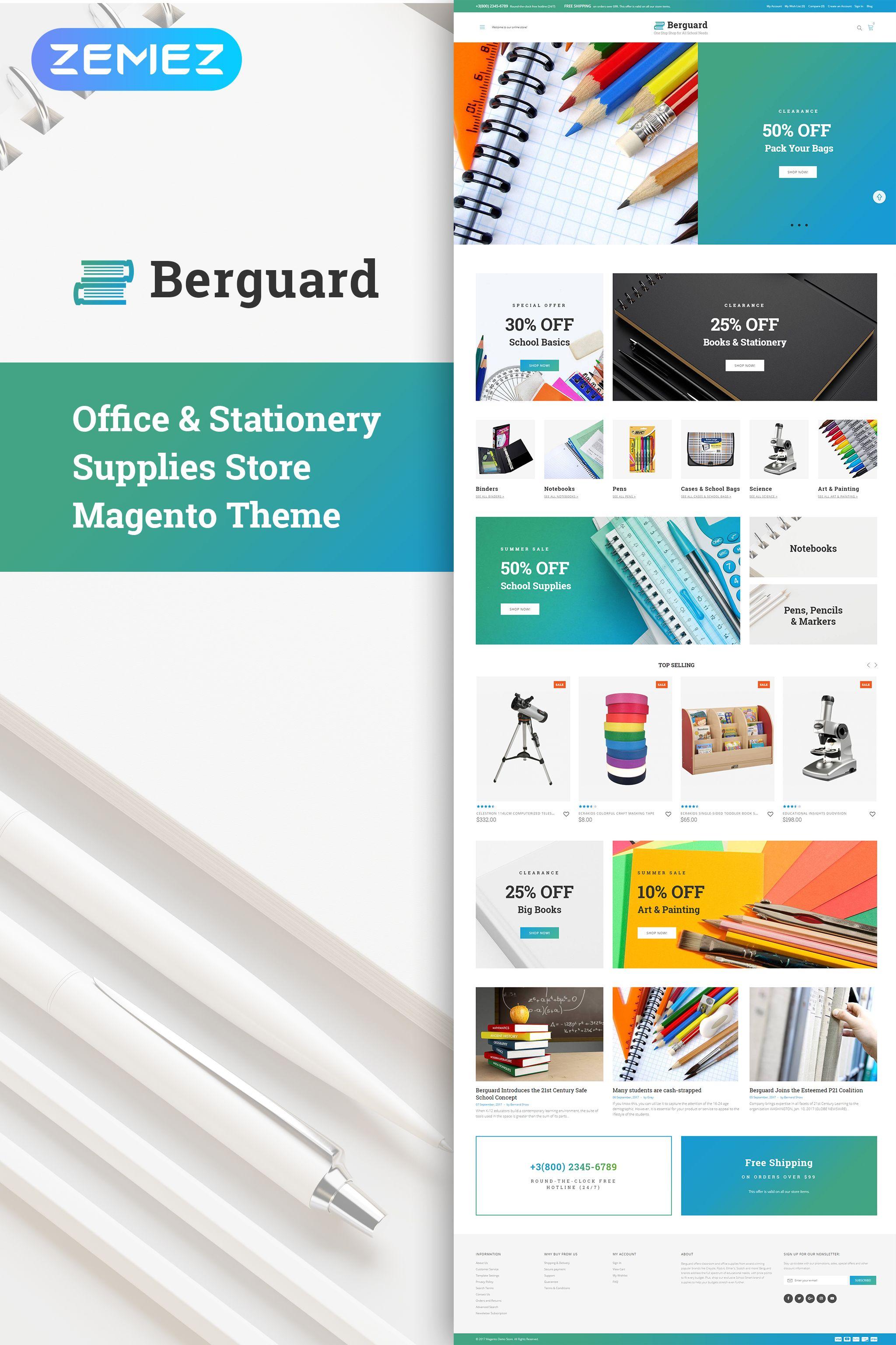 Berguard Office Magento Themes Book Stationery Portfolio Website Template