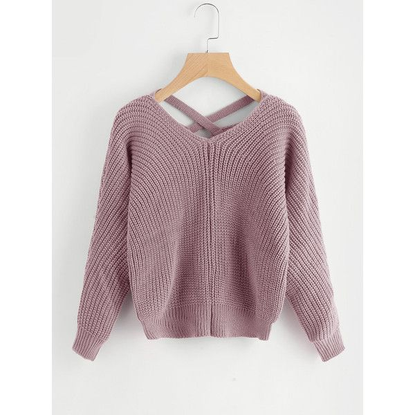 Criss Cross V Back Sweater ( 11) ❤ liked on Polyvore featuring tops ... ad685d69d