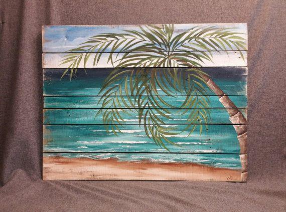 Pallet Wood Art Beach Beach Palmtree Pallet Wall Handmade Decor