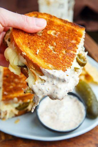 White BBQ Chicken Grilled Cheese Sandwich Recipe #tapasideer